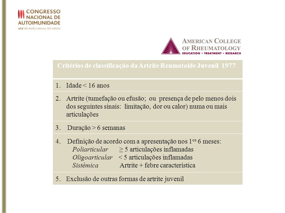 Critérios de classificação da Artrite Reumatoide Juvenil 1977