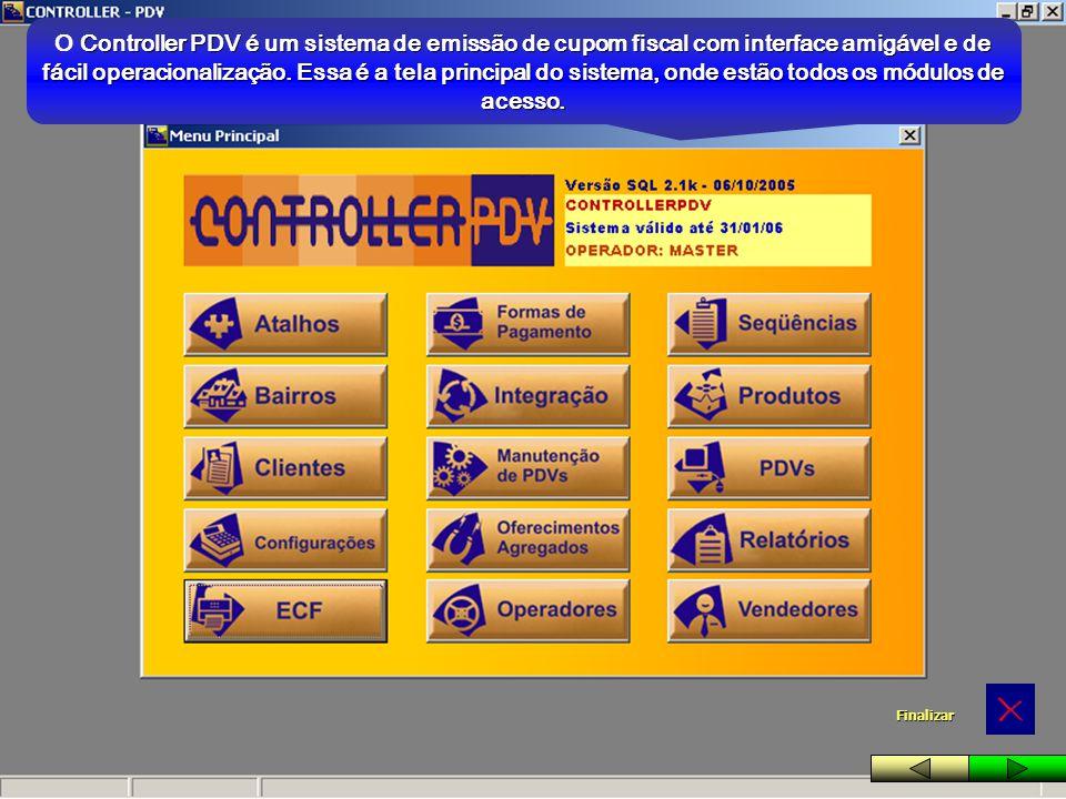 O Controller PDV é um sistema de emissão de cupom fiscal com interface amigável e de fácil operacionalização. Essa é a tela principal do sistema, onde estão todos os módulos de acesso.