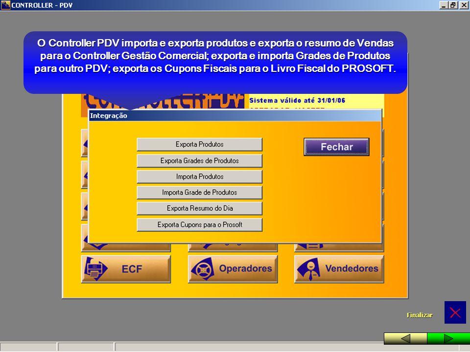 O Controller PDV importa e exporta produtos e exporta o resumo de Vendas para o Controller Gestão Comercial; exporta e importa Grades de Produtos para outro PDV; exporta os Cupons Fiscais para o Livro Fiscal do PROSOFT.