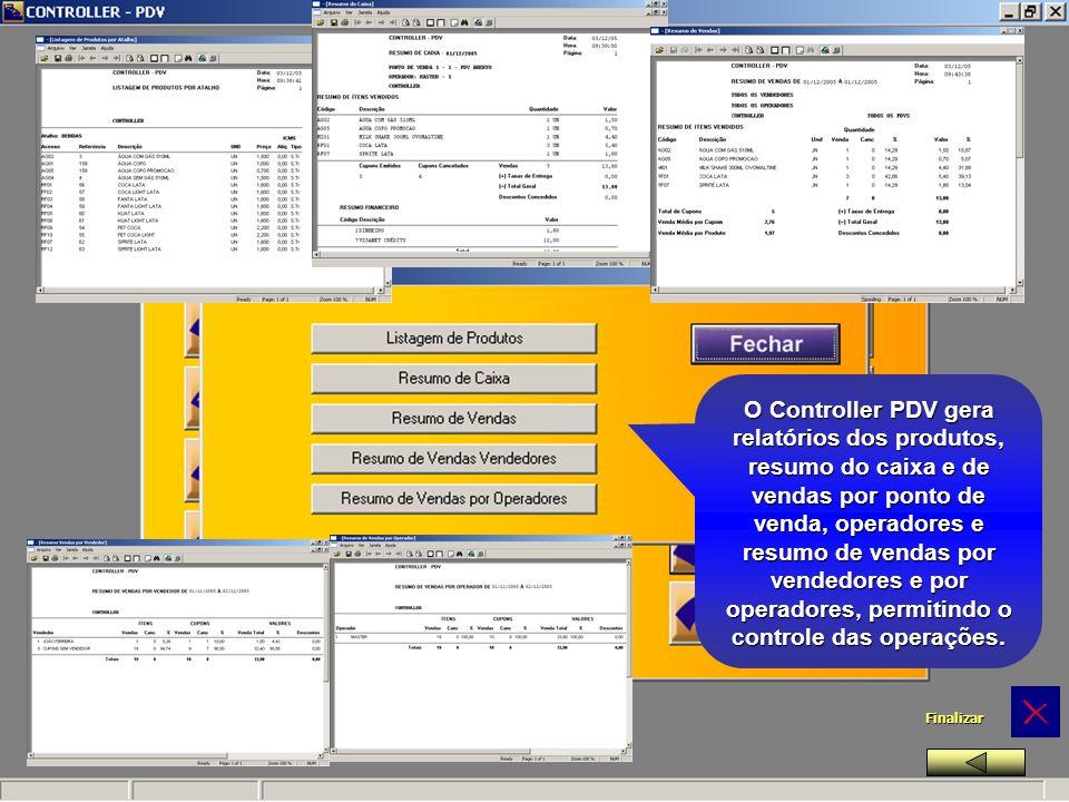 O Controller PDV gera relatórios dos produtos, resumo do caixa e de vendas por ponto de venda, operadores e resumo de vendas por vendedores e por operadores, permitindo o controle das operações.