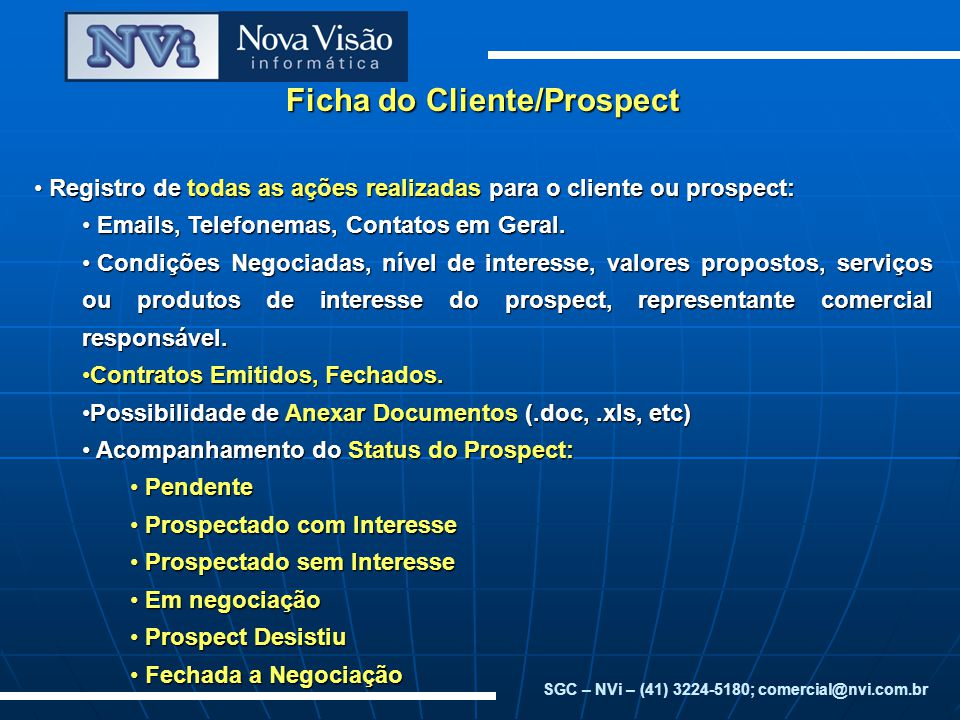 Ficha do Cliente/Prospect