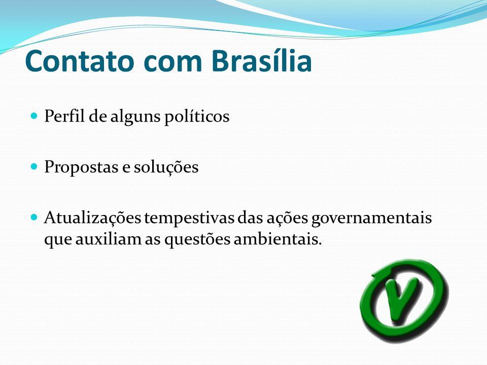 Contato com Brasília Perfil de alguns políticos Propostas e soluções