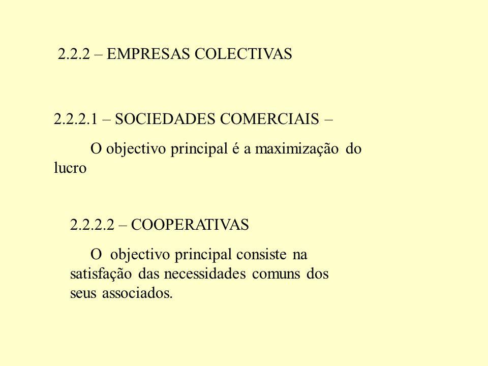 2.2.2 – EMPRESAS COLECTIVAS 2.2.2.1 – SOCIEDADES COMERCIAIS – O objectivo principal é a maximização do lucro.