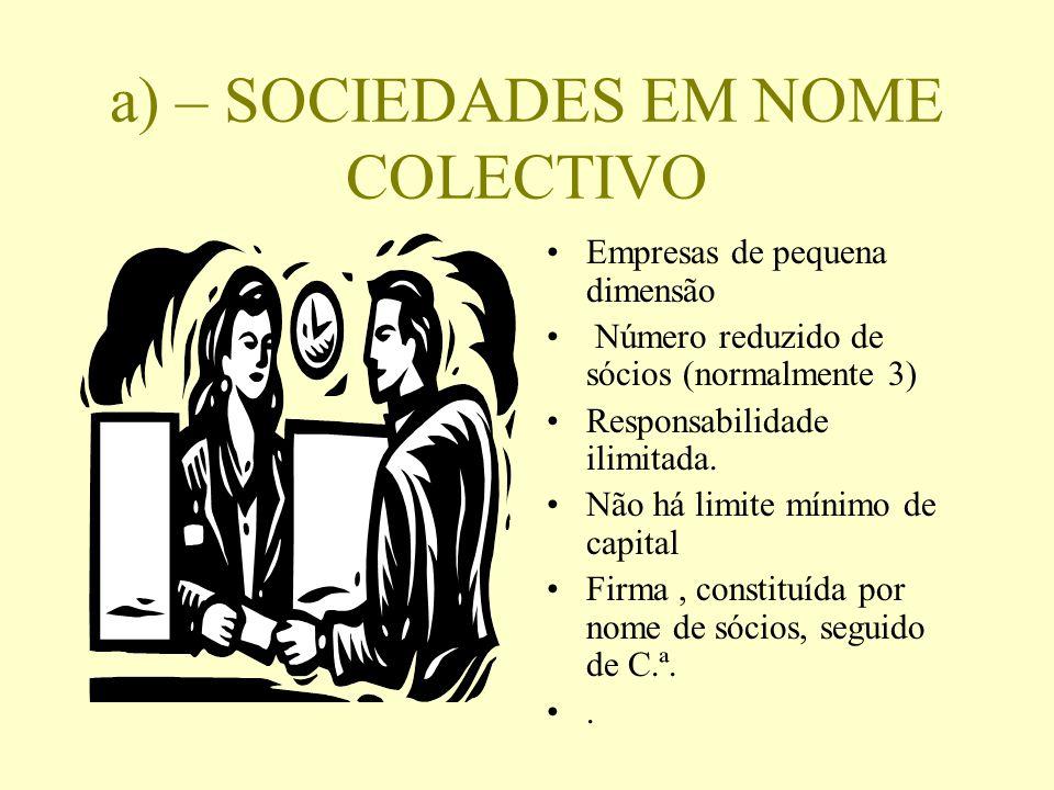 a) – SOCIEDADES EM NOME COLECTIVO