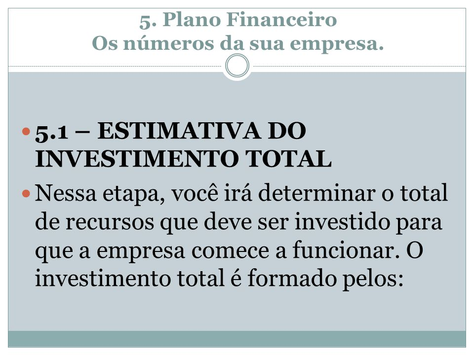 5. Plano Financeiro Os números da sua empresa.