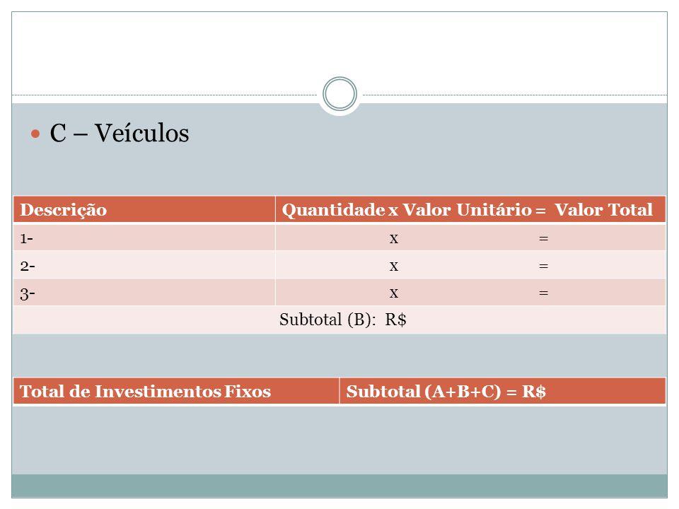 C – Veículos Descrição Quantidade x Valor Unitário = Valor Total 1-