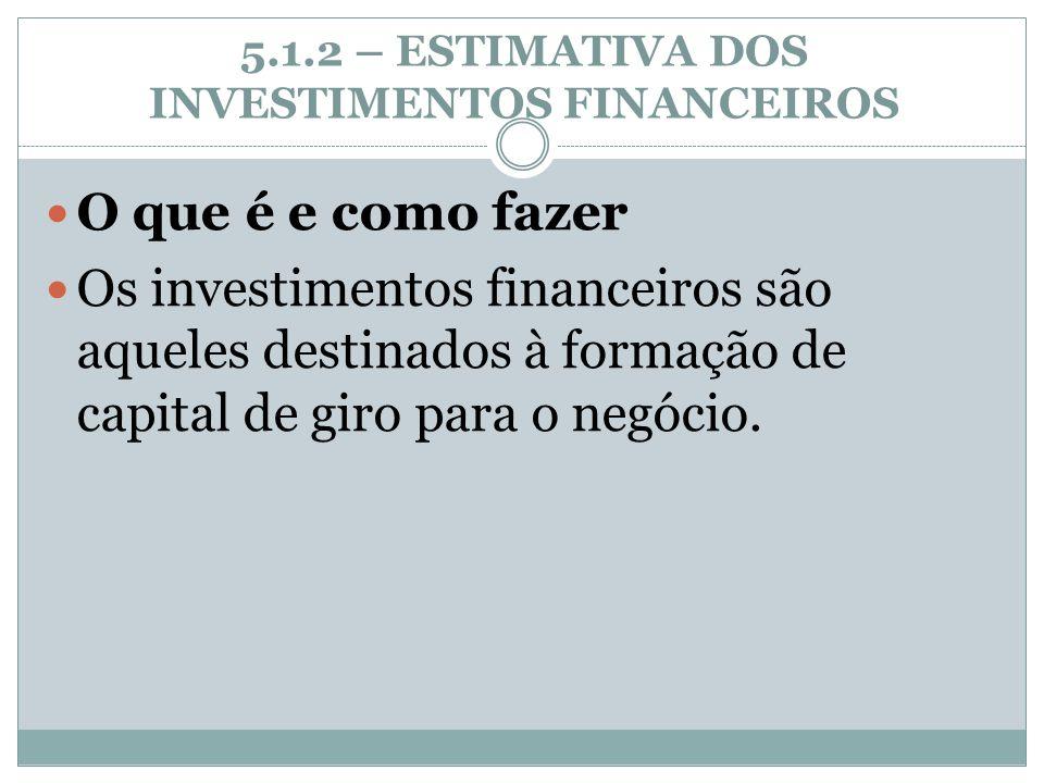 5.1.2 – ESTIMATIVA DOS INVESTIMENTOS FINANCEIROS