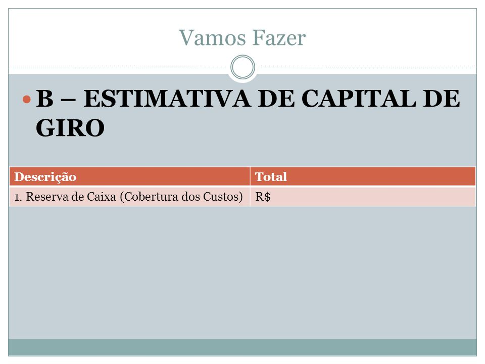 B – ESTIMATIVA DE CAPITAL DE GIRO