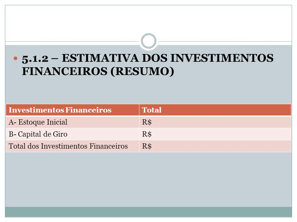 5.1.2 – ESTIMATIVA DOS INVESTIMENTOS FINANCEIROS (RESUMO)