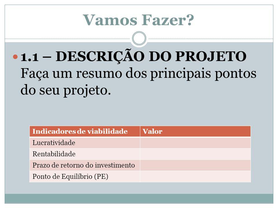 Vamos Fazer 1.1 – DESCRIÇÃO DO PROJETO Faça um resumo dos principais pontos do seu projeto. Indicadores de viabilidade.