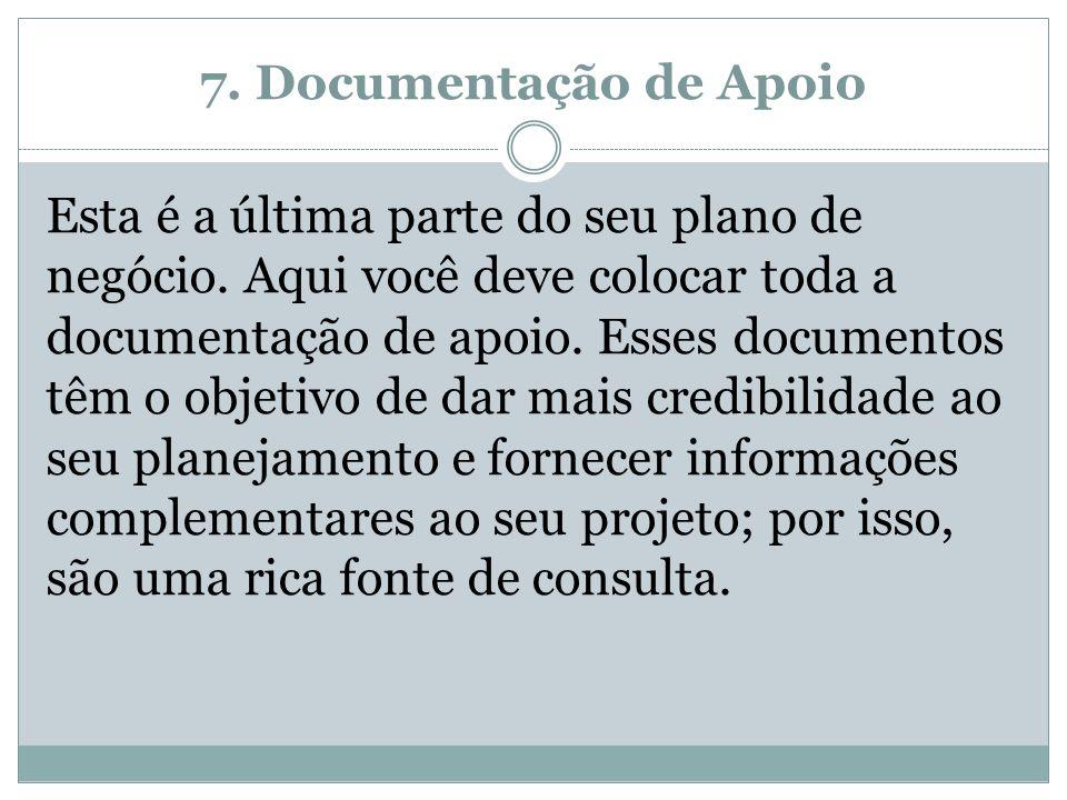 7. Documentação de Apoio