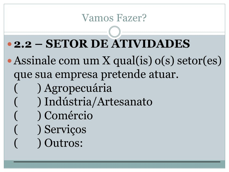 Vamos Fazer 2.2 – SETOR DE ATIVIDADES.