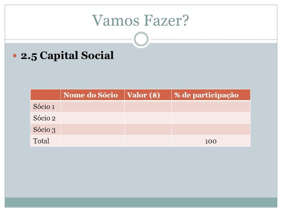 Vamos Fazer 2.5 Capital Social Nome do Sócio Valor ($)