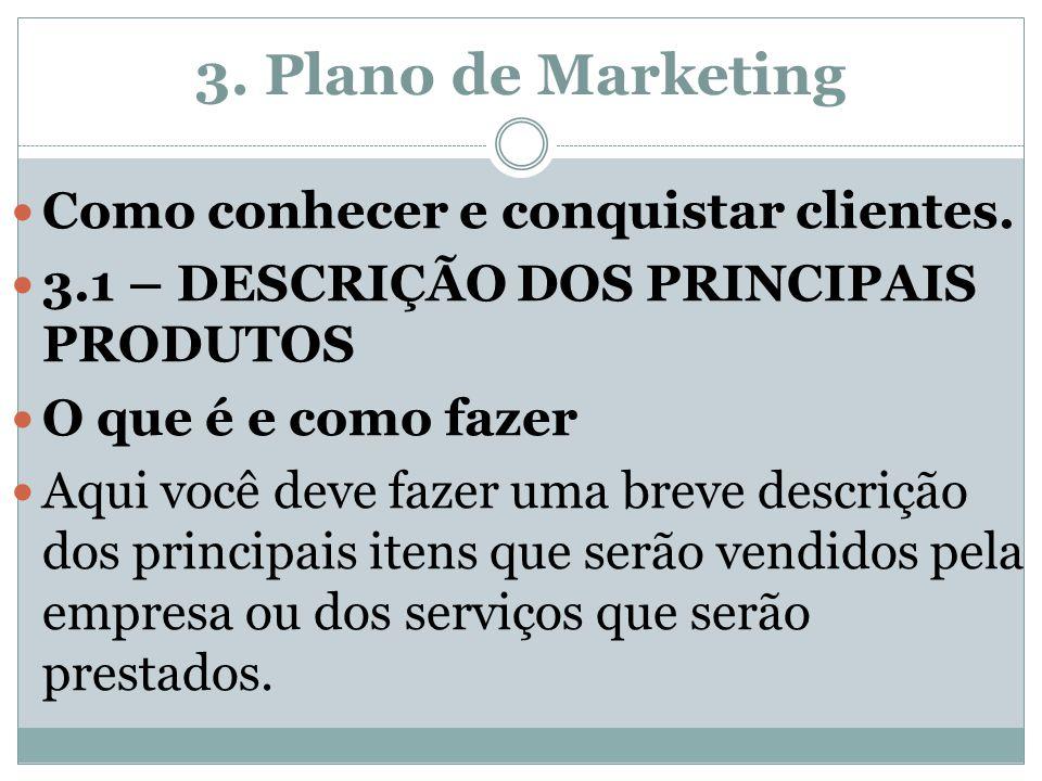 3. Plano de Marketing Como conhecer e conquistar clientes.