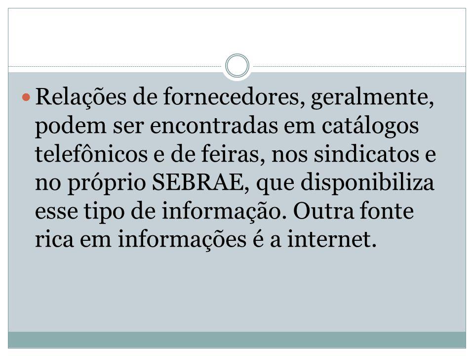 Relações de fornecedores, geralmente, podem ser encontradas em catálogos telefônicos e de feiras, nos sindicatos e no próprio SEBRAE, que disponibiliza esse tipo de informação.