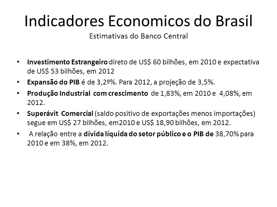Indicadores Economicos do Brasil Estimativas do Banco Central