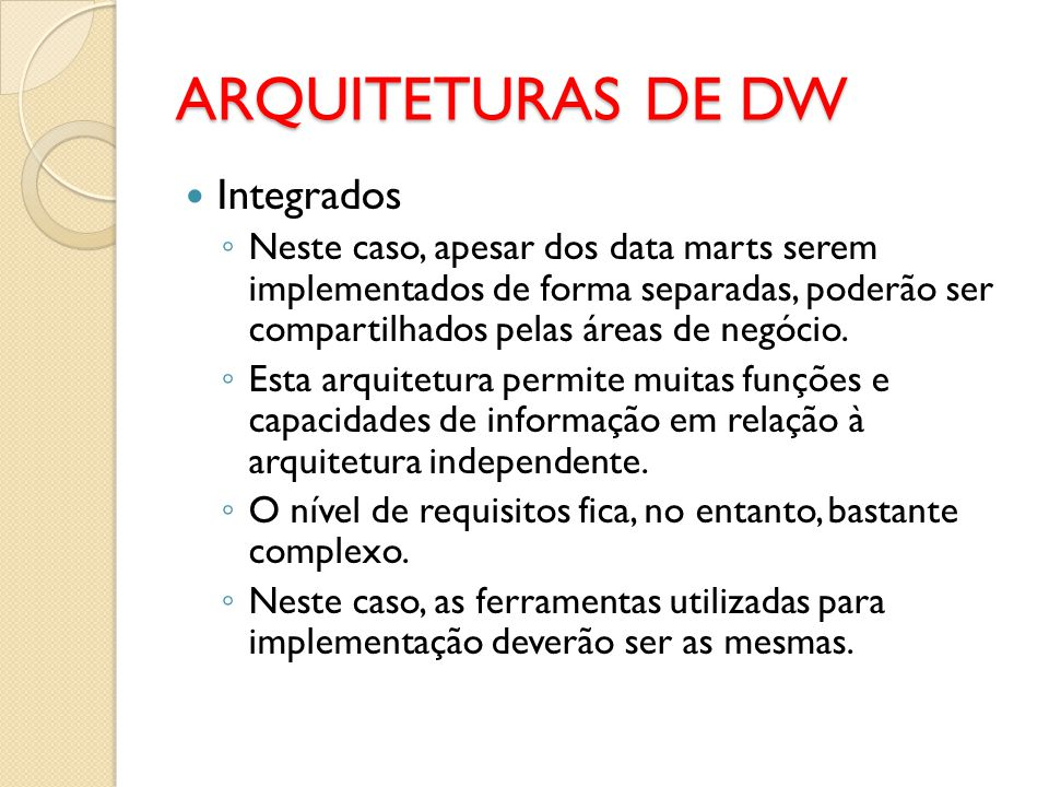 ARQUITETURAS DE DW Integrados