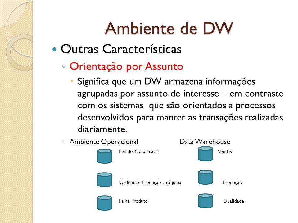 Ambiente de DW Outras Características Orientação por Assunto