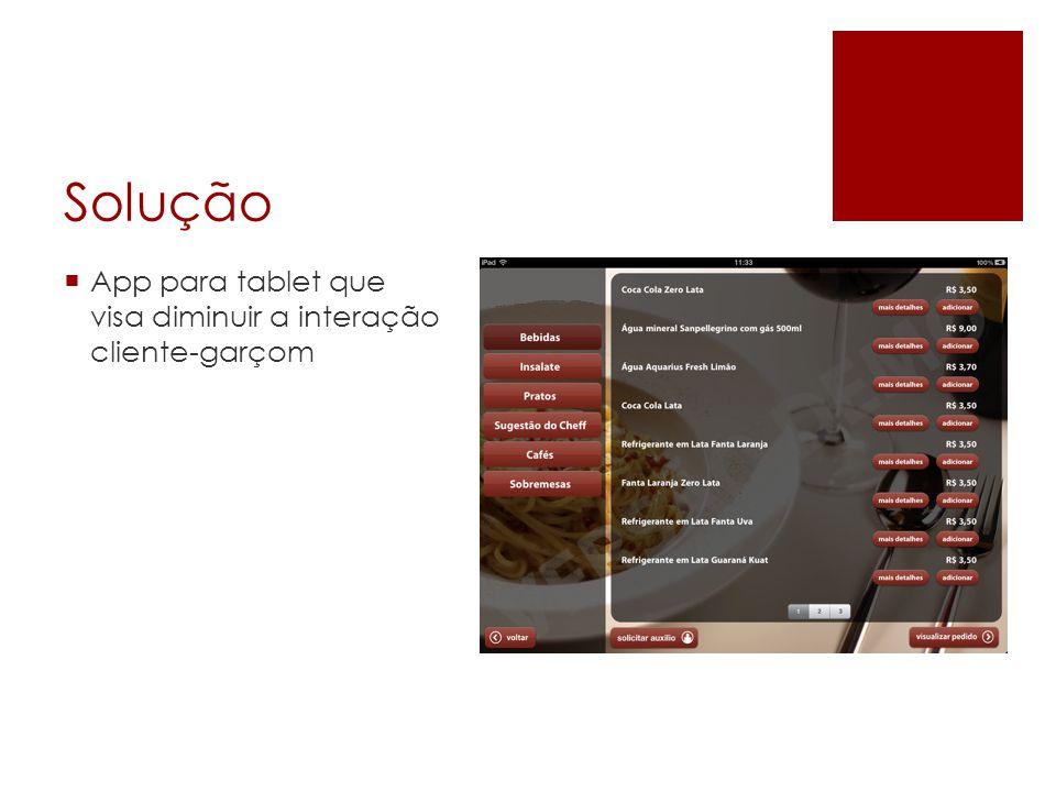 Solução App para tablet que visa diminuir a interação cliente-garçom