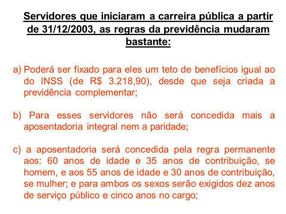 Servidores que iniciaram a carreira pública a partir de 31/12/2003, as regras da previdência mudaram bastante: