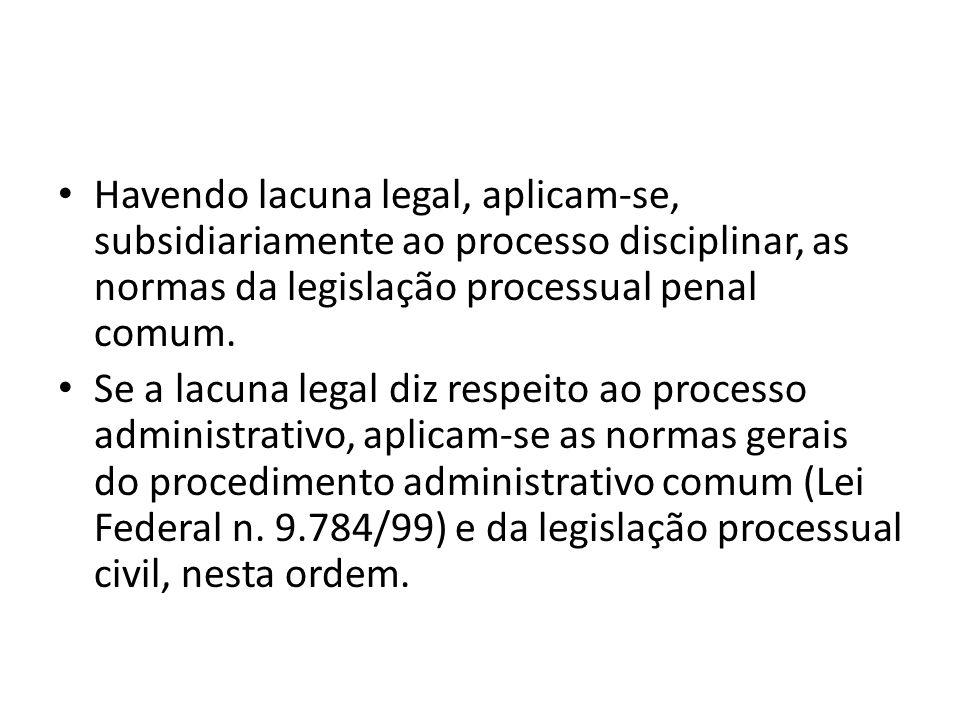 Havendo lacuna legal, aplicam-se, subsidiariamente ao processo disciplinar, as normas da legislação processual penal comum.