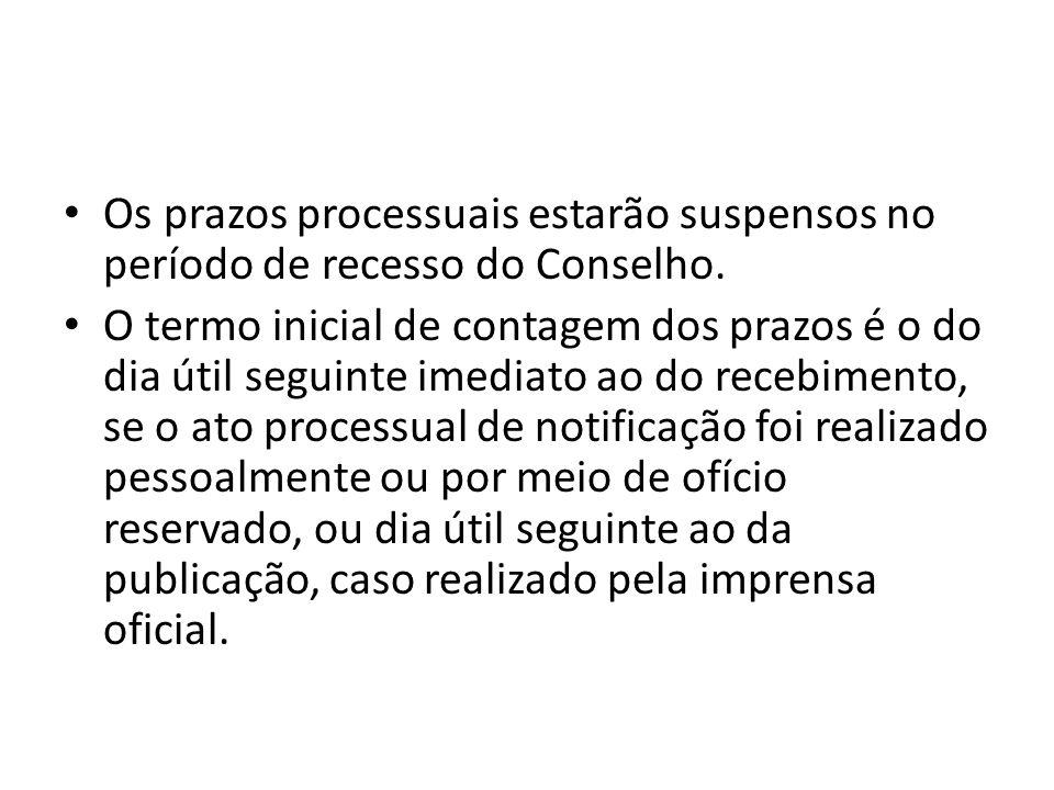Os prazos processuais estarão suspensos no período de recesso do Conselho.
