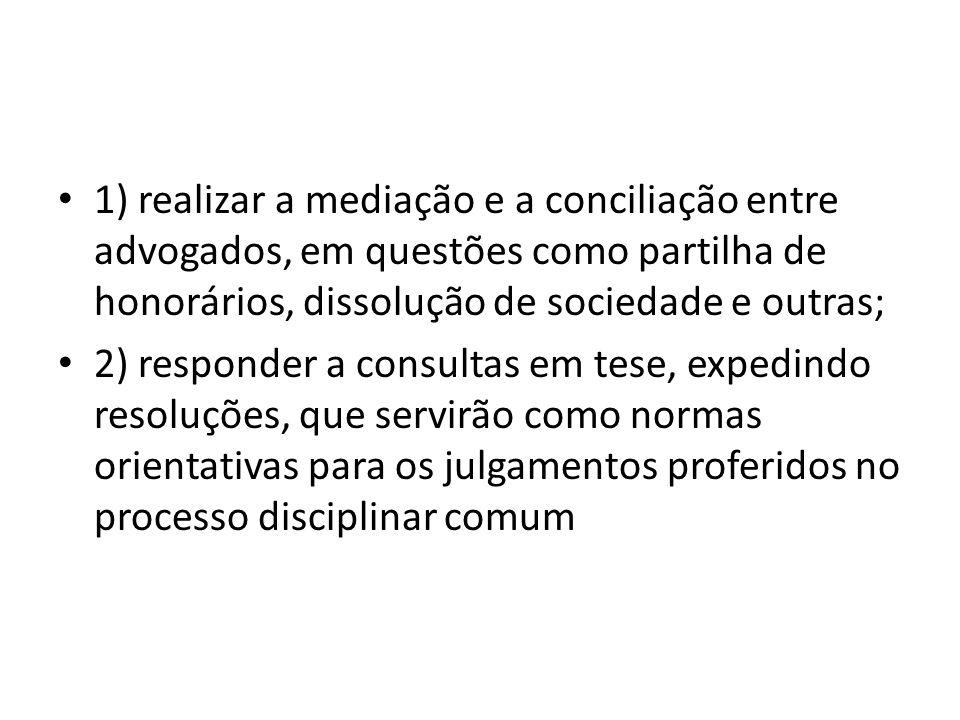 1) realizar a mediação e a conciliação entre advogados, em questões como partilha de honorários, dissolução de sociedade e outras;