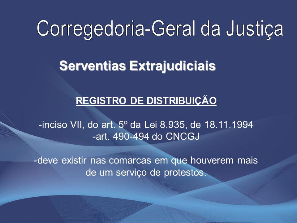 Serventias Extrajudiciais REGISTRO DE DISTRIBUIÇÃO