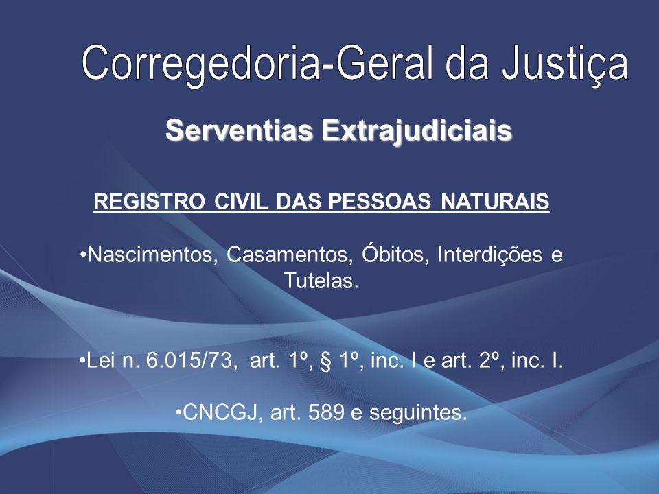 Serventias Extrajudiciais REGISTRO CIVIL DAS PESSOAS NATURAIS