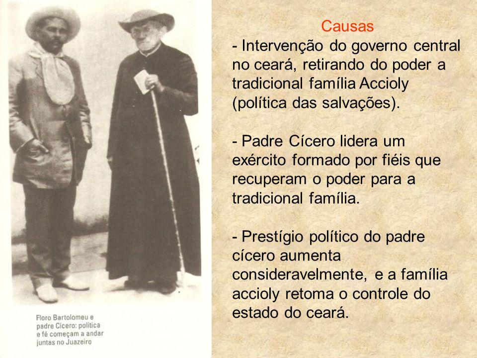 Causas - Intervenção do governo central no ceará, retirando do poder a tradicional família Accioly (política das salvações).