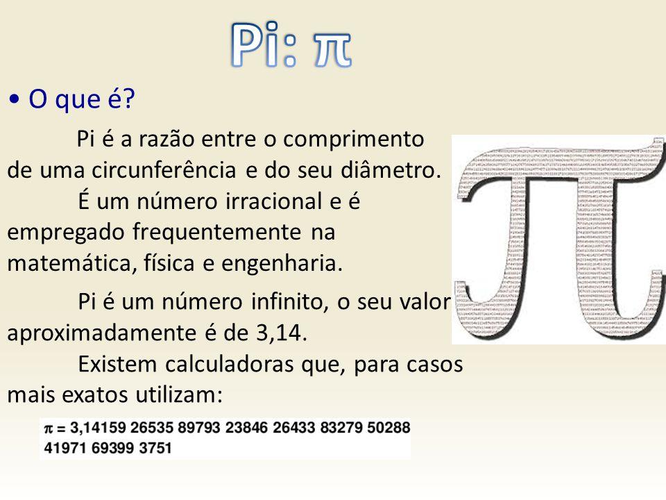 Pi: π • O que é Pi é a razão entre o comprimento de uma circunferência e do seu diâmetro.