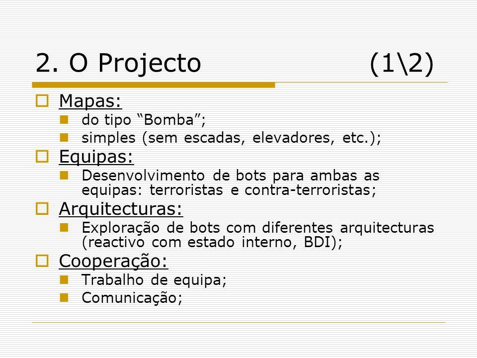 2. O Projecto (1\2) Mapas: Equipas: Arquitecturas: Cooperação: