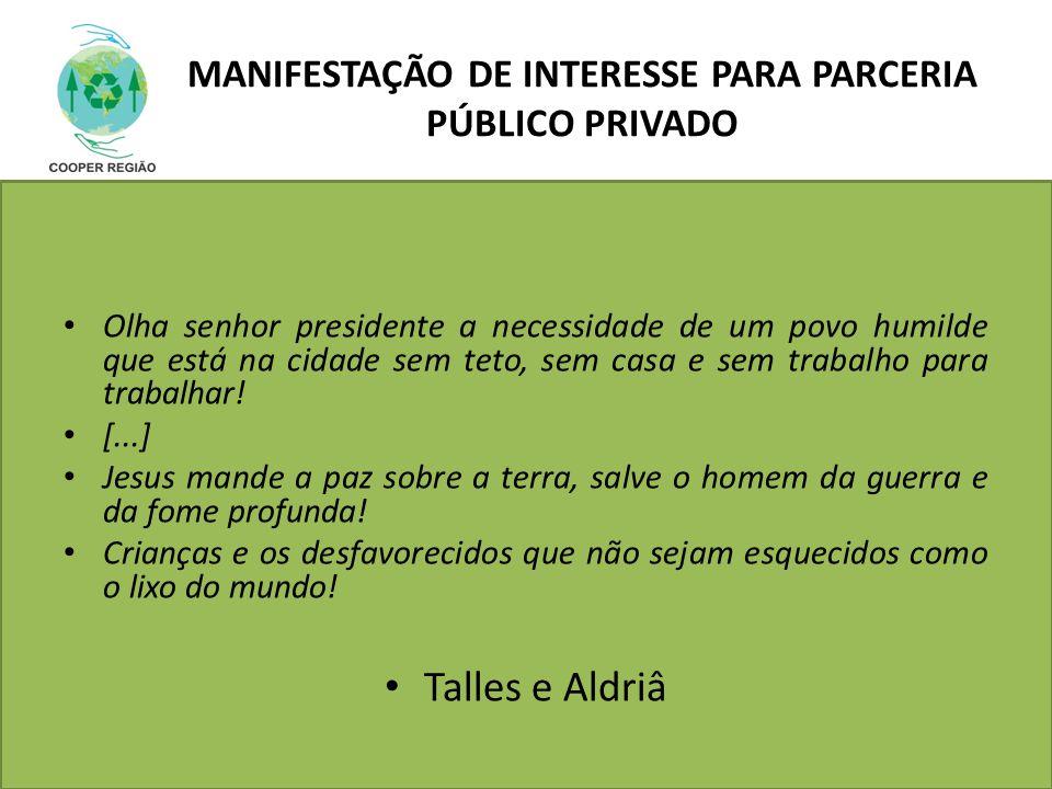 MANIFESTAÇÃO DE INTERESSE PARA Parceria Público Privado