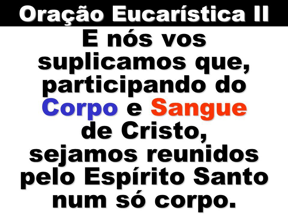 Oração Eucarística II E nós vos suplicamos que, participando do Corpo e Sangue de Cristo, sejamos reunidos pelo Espírito Santo num só corpo.