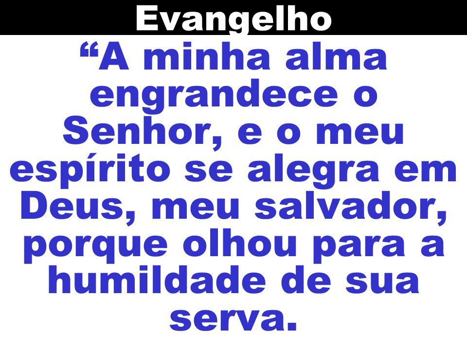Evangelho A minha alma engrandece o Senhor, e o meu espírito se alegra em Deus, meu salvador, porque olhou para a humildade de sua serva.