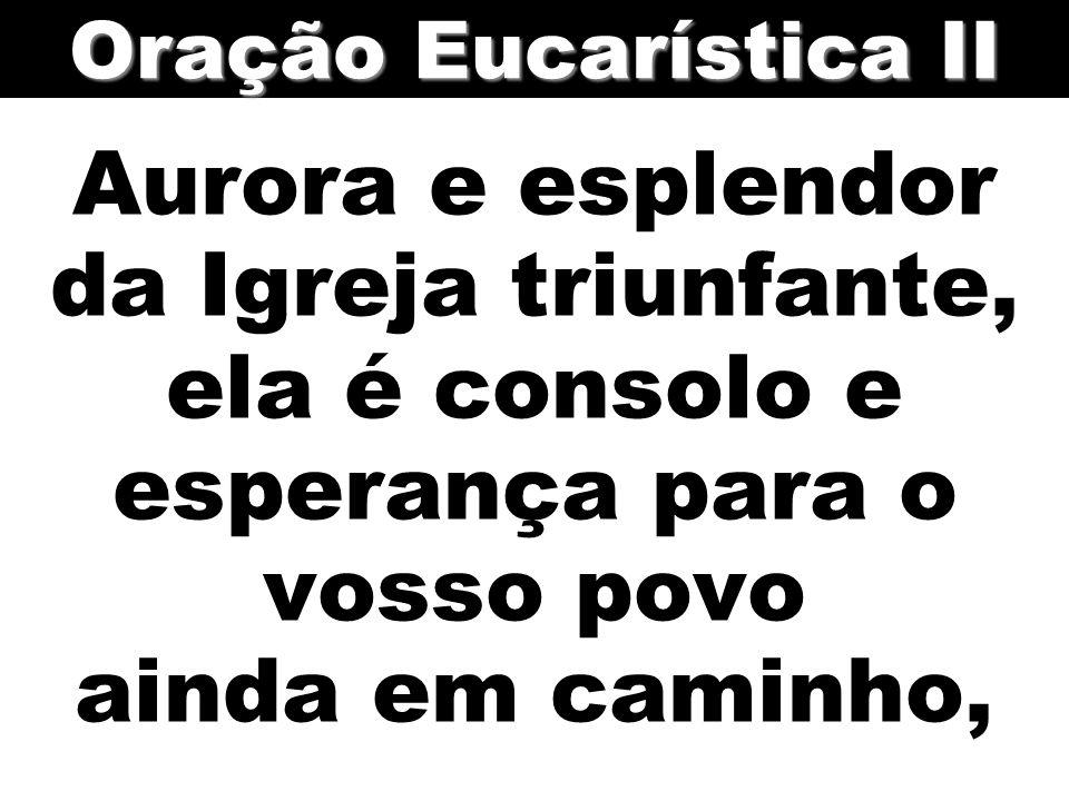 Oração Eucarística II Aurora e esplendor da Igreja triunfante, ela é consolo e esperança para o vosso povo ainda em caminho,