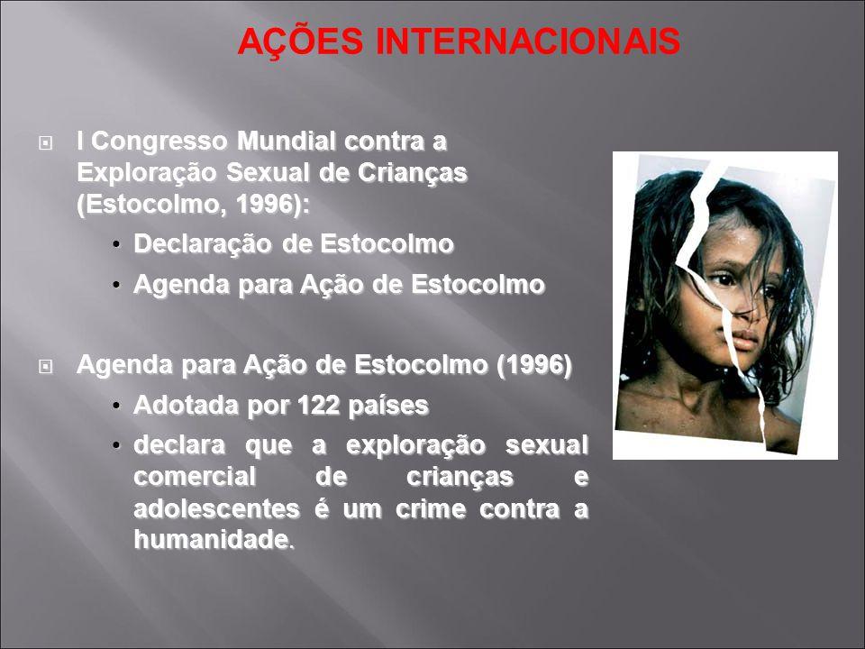 AÇÕES INTERNACIONAIS I Congresso Mundial contra a Exploração Sexual de Crianças (Estocolmo, 1996):