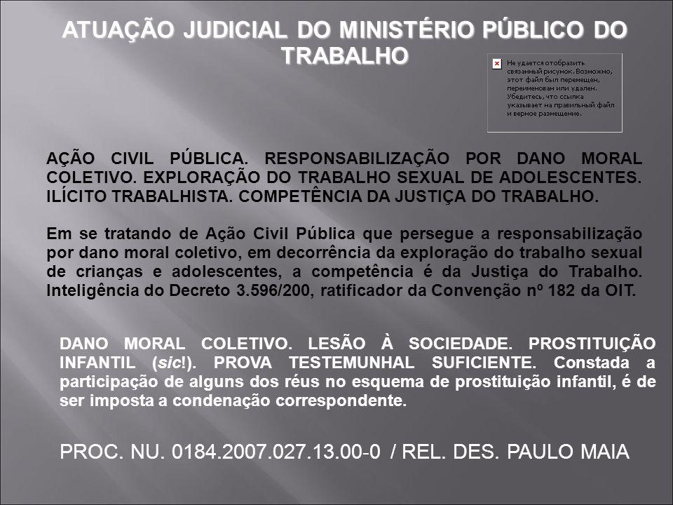 ATUAÇÃO JUDICIAL DO MINISTÉRIO PÚBLICO DO TRABALHO
