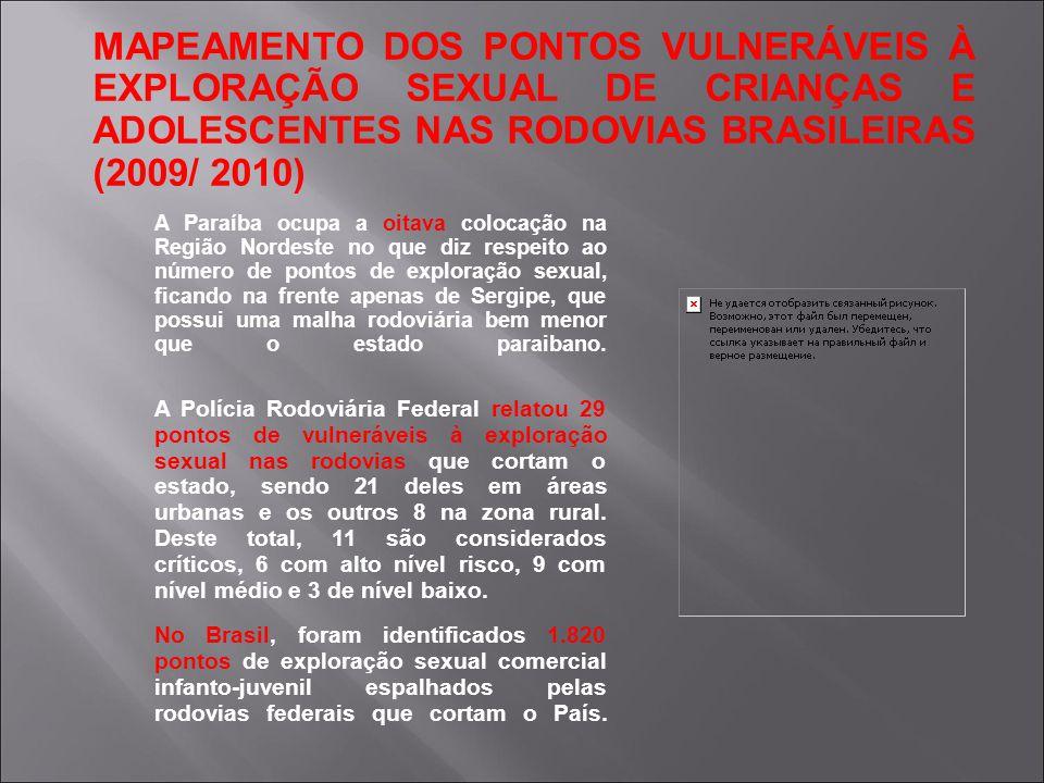 MAPEAMENTO DOS PONTOS VULNERÁVEIS À EXPLORAÇÃO SEXUAL DE CRIANÇAS E ADOLESCENTES NAS RODOVIAS BRASILEIRAS (2009/ 2010)