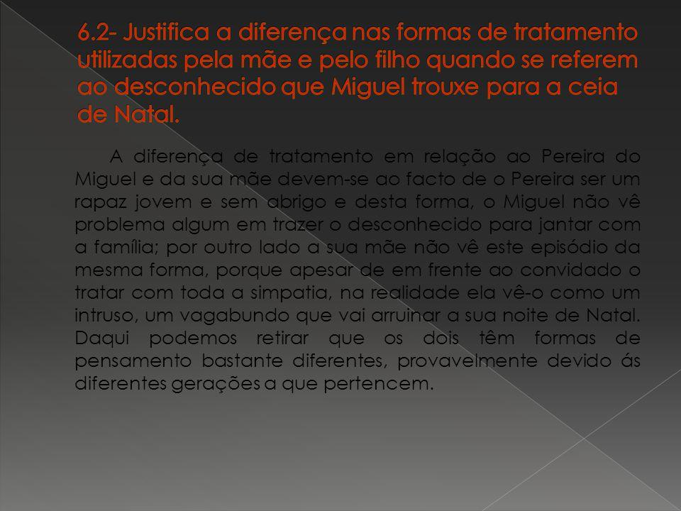 6.2- Justifica a diferença nas formas de tratamento utilizadas pela mãe e pelo filho quando se referem ao desconhecido que Miguel trouxe para a ceia de Natal.