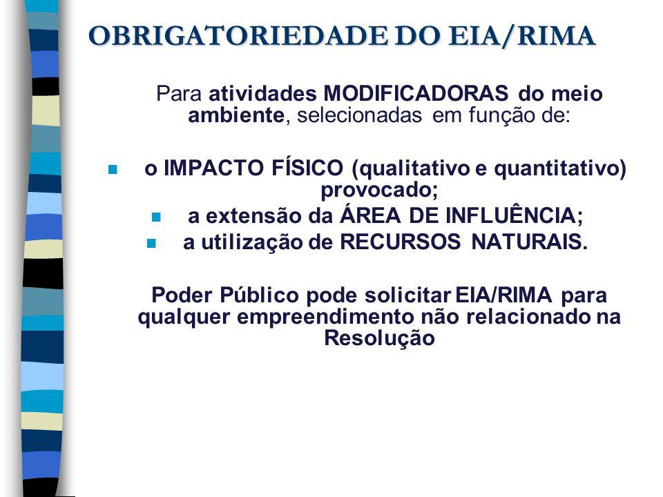 OBRIGATORIEDADE DO EIA/RIMA