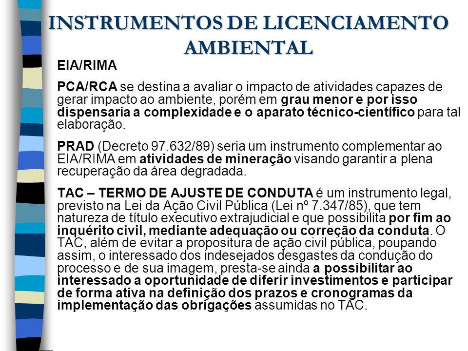 INSTRUMENTOS DE LICENCIAMENTO AMBIENTAL