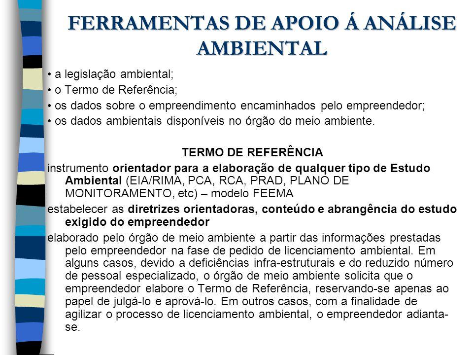 FERRAMENTAS DE APOIO Á ANÁLISE AMBIENTAL