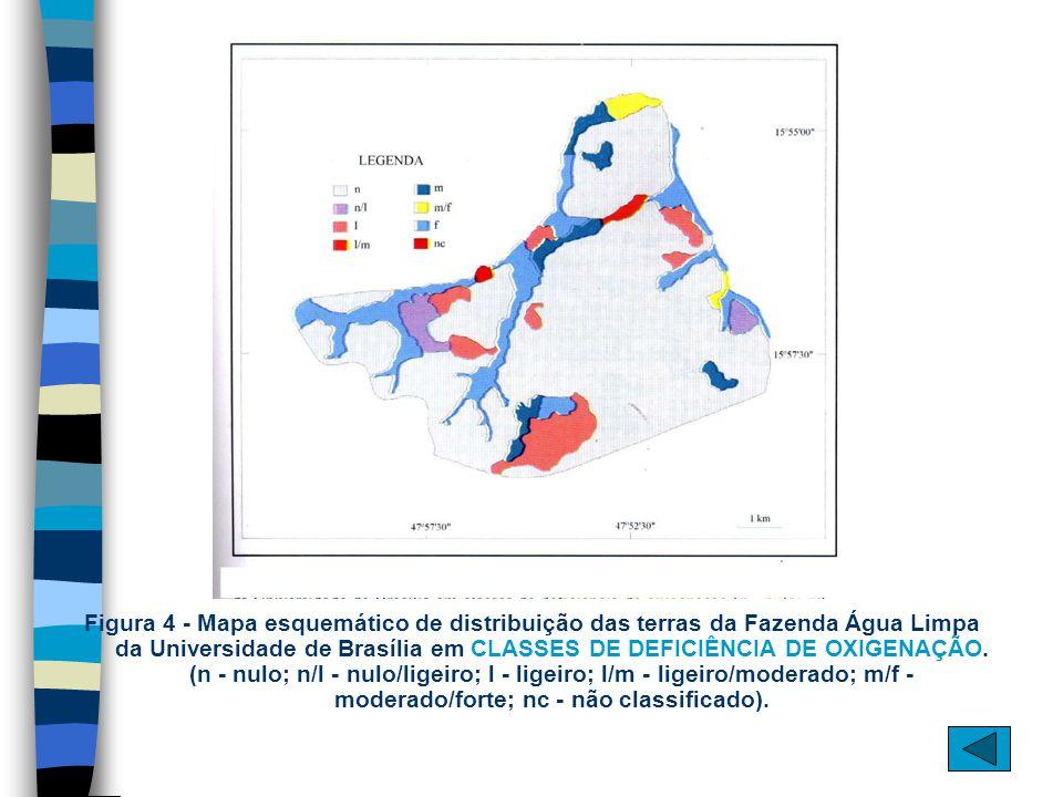 Figura 4 - Mapa esquemático de distribuição das terras da Fazenda Água Limpa da Universidade de Brasília em CLASSES DE DEFICIÊNCIA DE OXIGENAÇÃO.