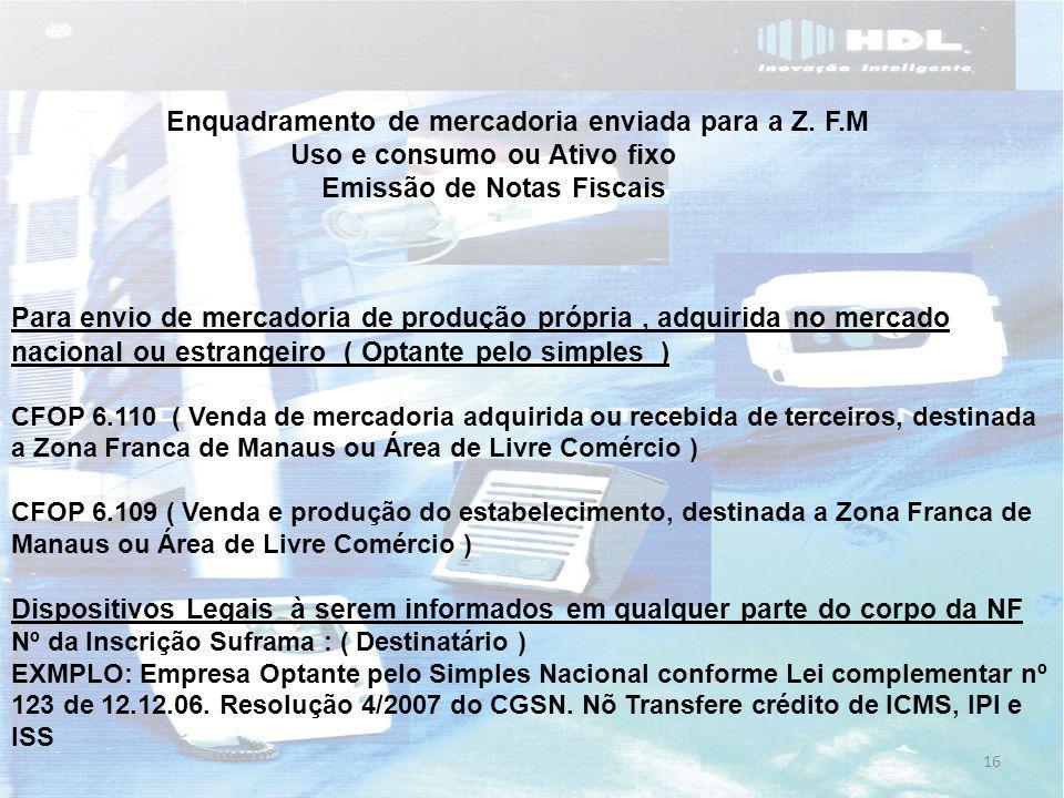 Enquadramento de mercadoria enviada para a Z. F.M