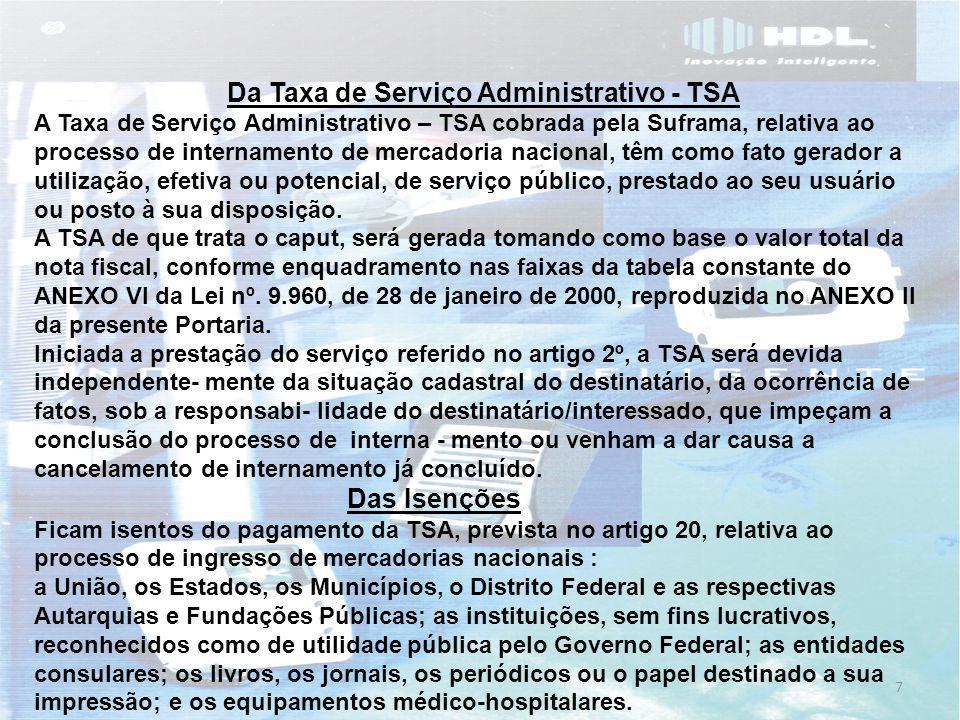 Da Taxa de Serviço Administrativo - TSA