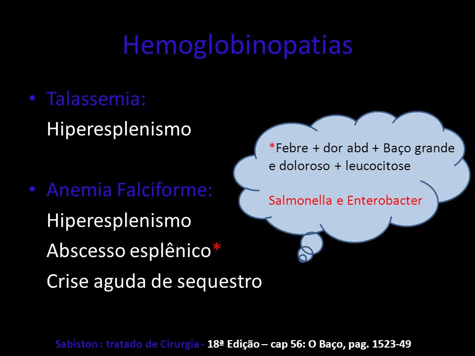 Hemoglobinopatias Talassemia: Hiperesplenismo Anemia Falciforme: