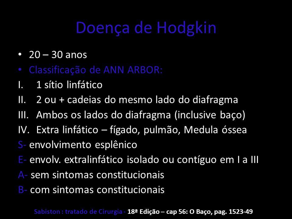 Doença de Hodgkin 20 – 30 anos Classificação de ANN ARBOR: