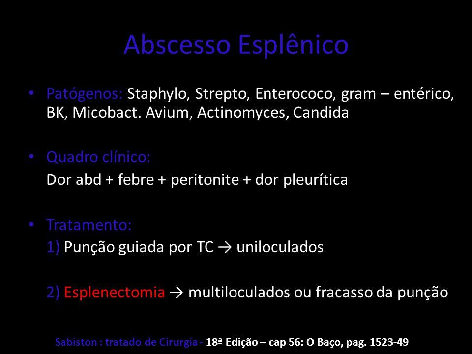 Abscesso Esplênico Patógenos: Staphylo, Strepto, Enterococo, gram – entérico, BK, Micobact. Avium, Actinomyces, Candida.