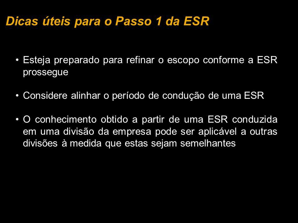 Dicas úteis para o Passo 1 da ESR